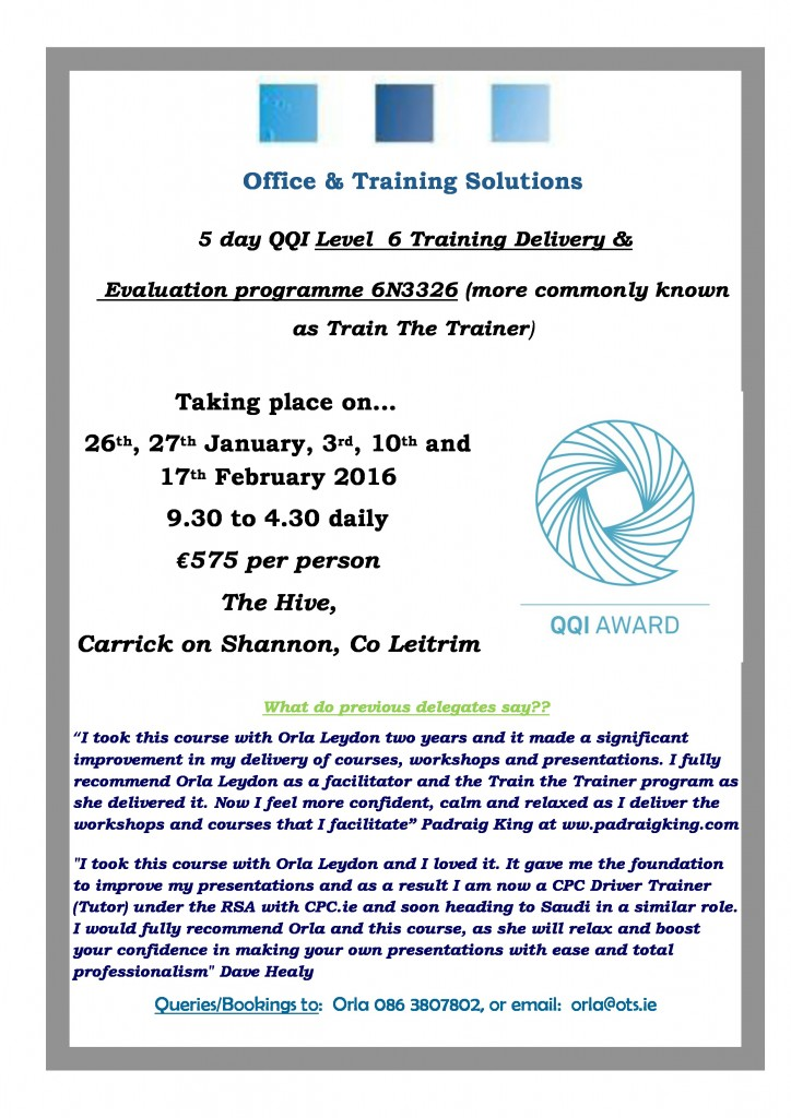 QQI Level 6 Training Delivery & Evaluation