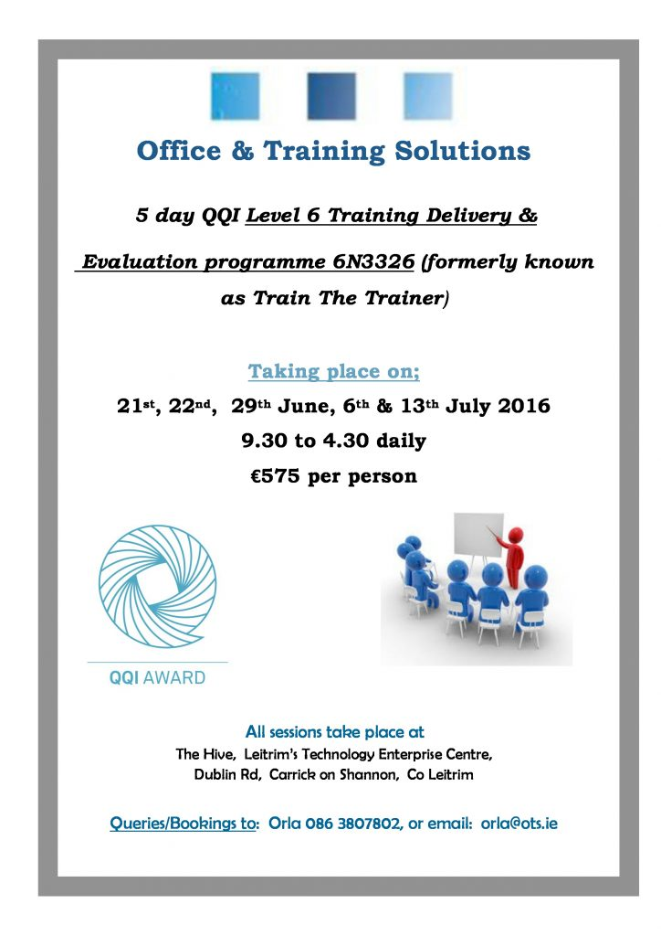 QQI Level 6 Training, Delivery & Evaluation JuneJuly16