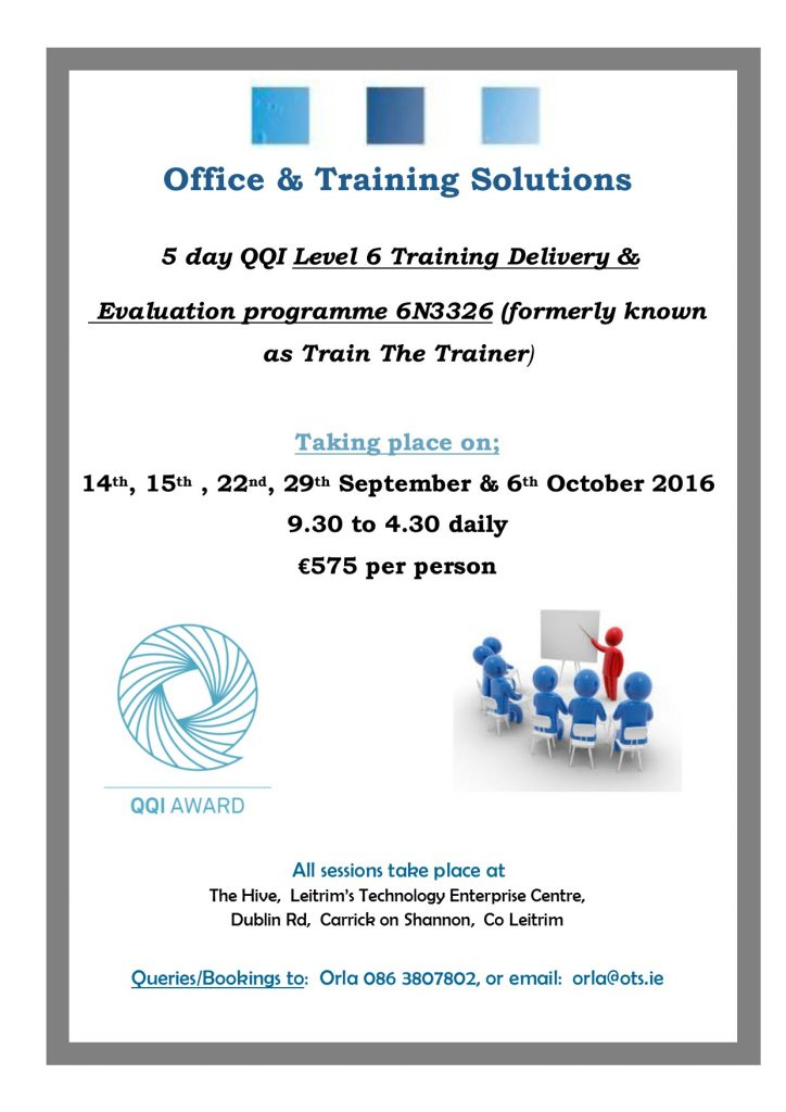 QQI Level 6 Training, Delivery & Evaluation SepOct16