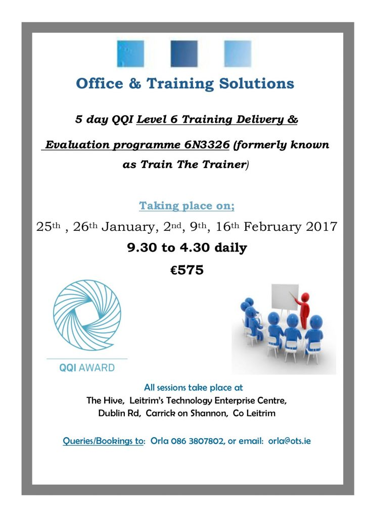 QQI Level 6 Training, Delivery & Evaluation JanFeb17