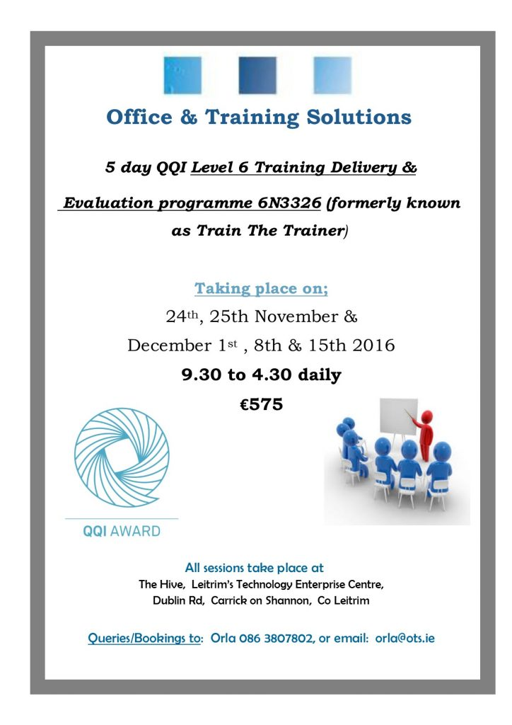QQI Level 6 Training, Delivery & Evaluation NovDec16